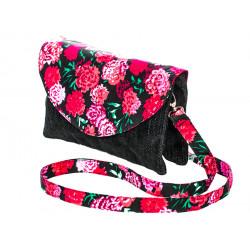 Sac double zip velours noir et fleurs roses