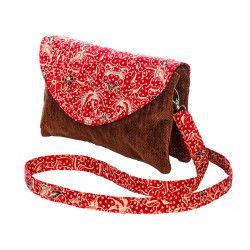 Sac double zip velours rouge