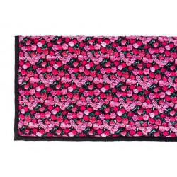 Boutis plaid noir et fleurs roses