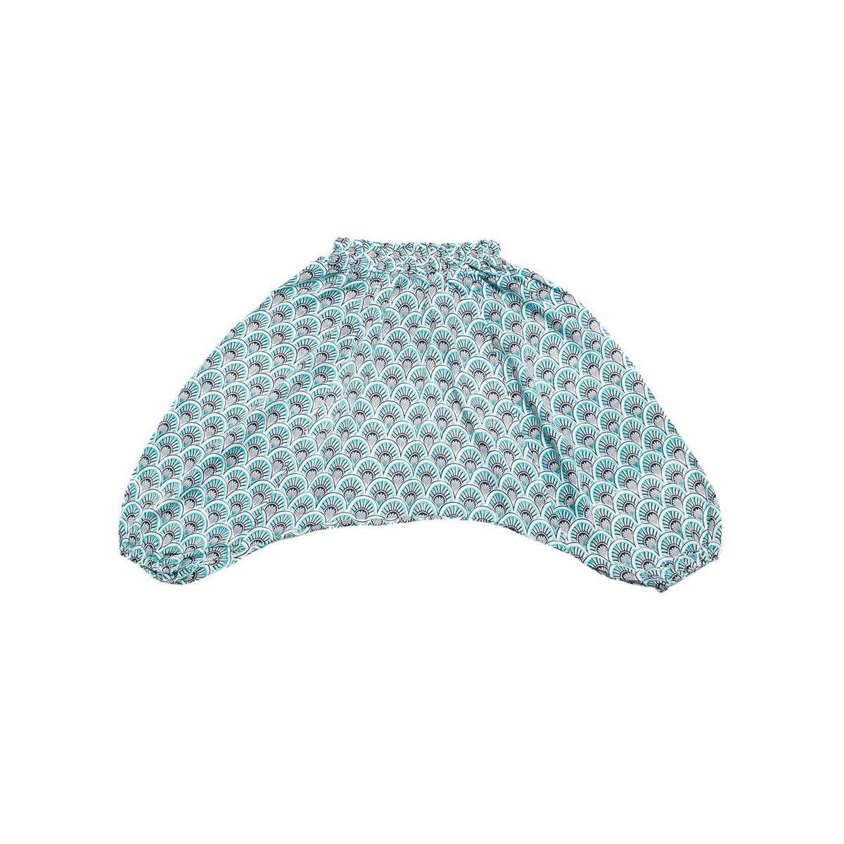 Pantalon sarouel léger 0-3 ans bleu ciel et noir
