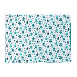 Plaid couverture coton gauffré hiboux turquoise