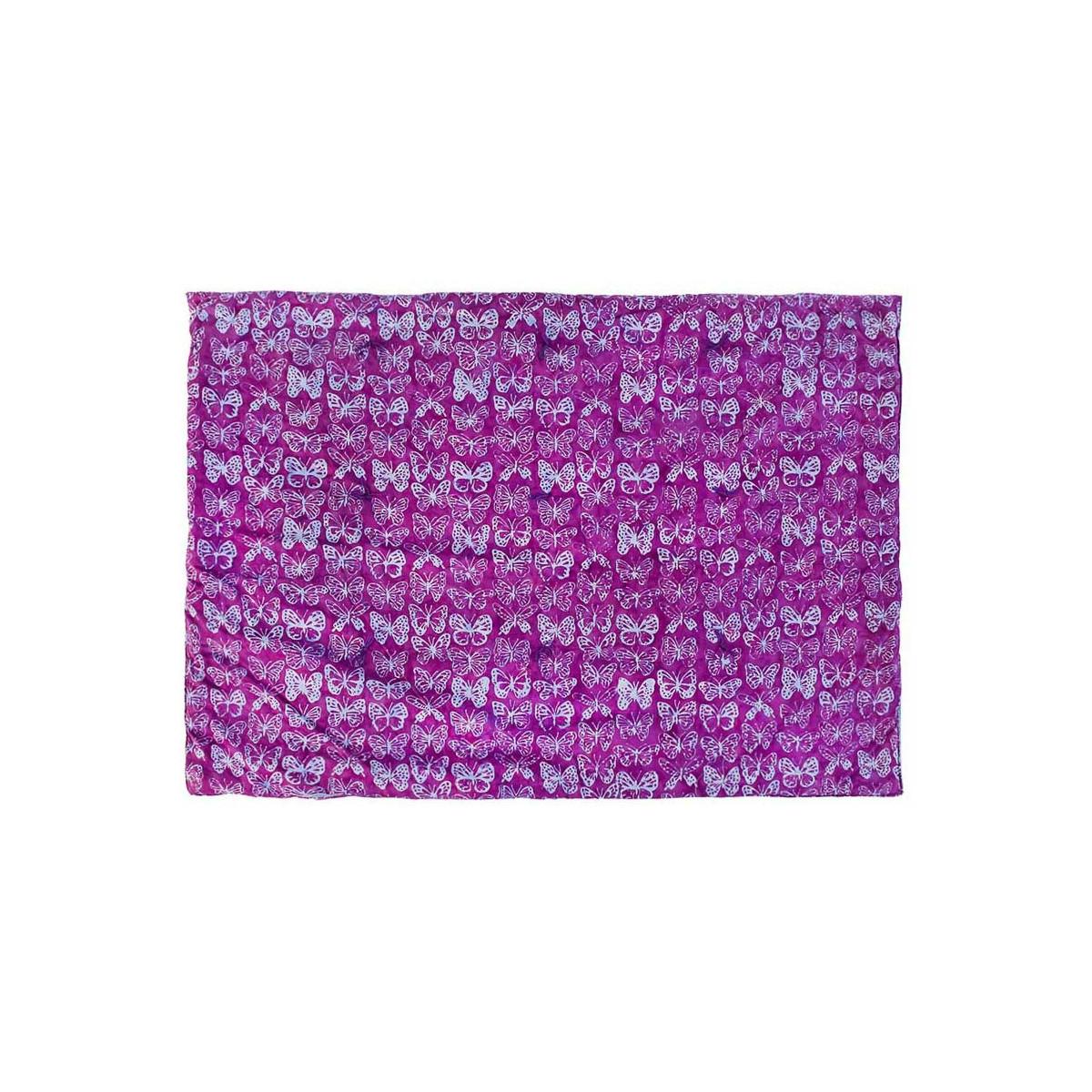 Plaid couverture coton gauffré papillons violets