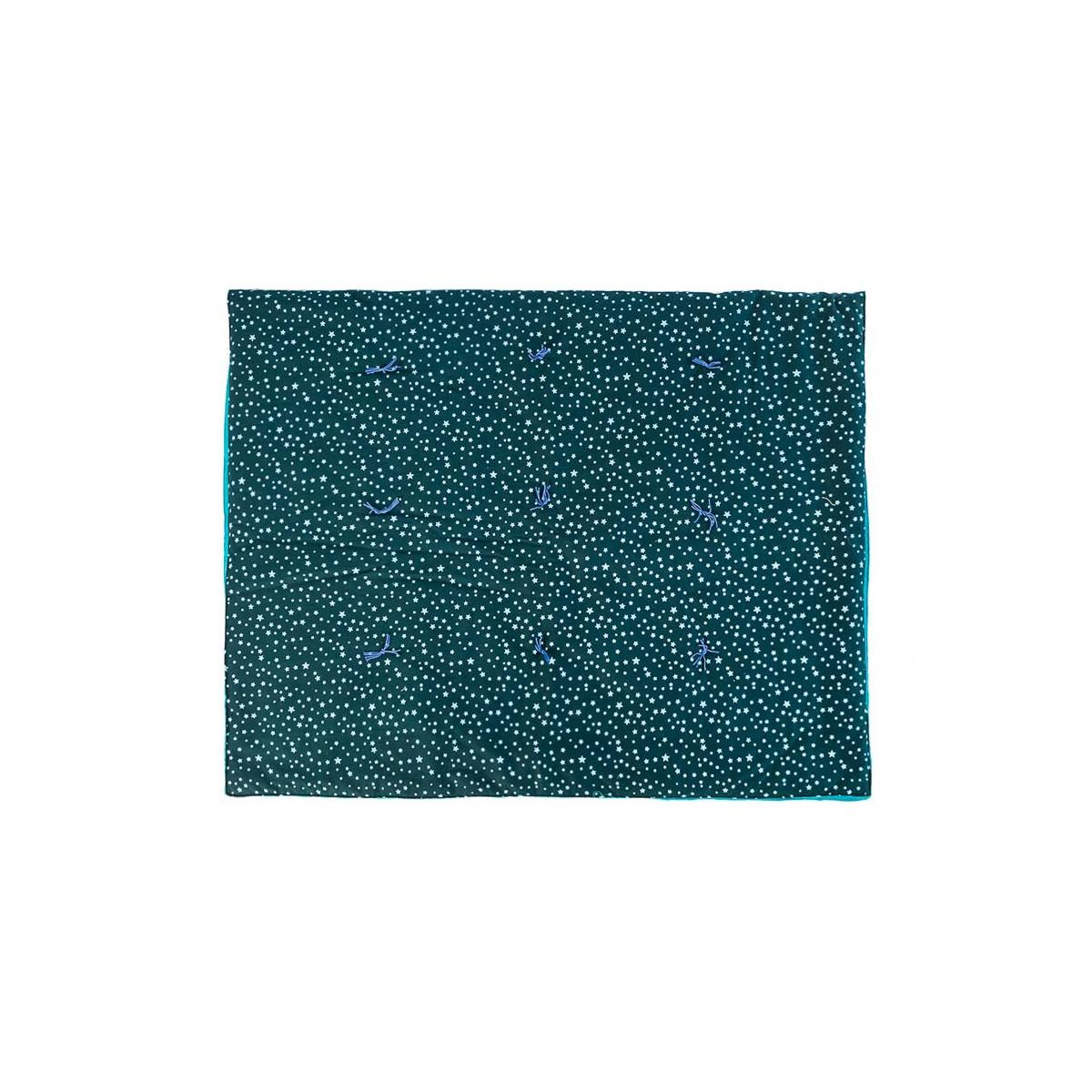 Plaid couverture coton gauffré bleu nuit étoile