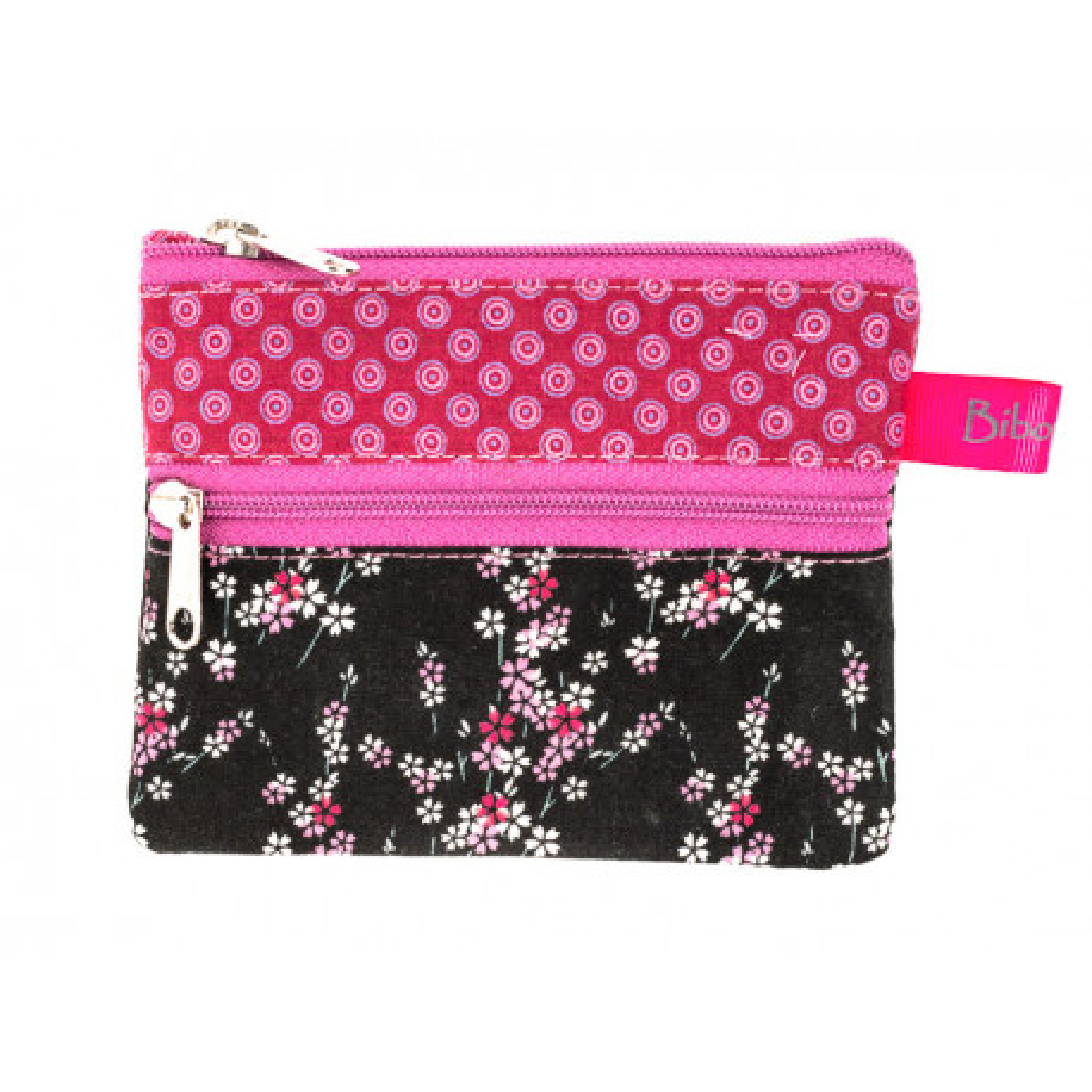Petit porte-monnaie deux compartiments rose et noir avec fleurs