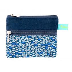 Petit porte-monnaie deux compartiments bleu et bleu foncé