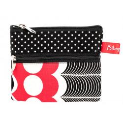 Petit porte-monnaie deux compartiments rouge et noir
