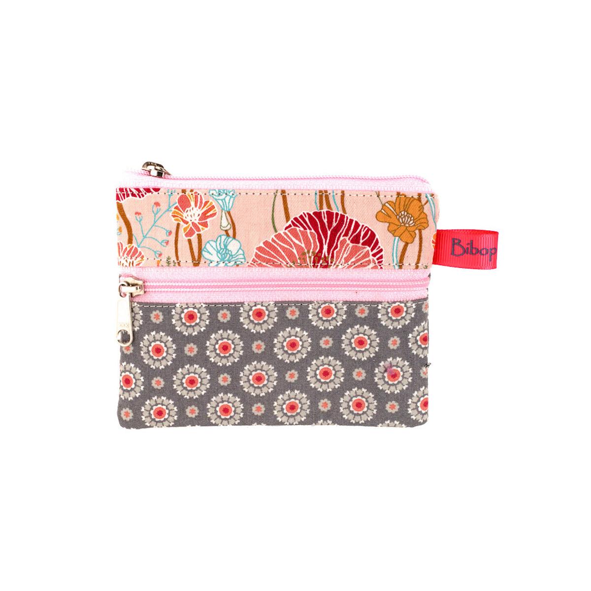 Petit porte-monnaie deux compartiments gris et rose