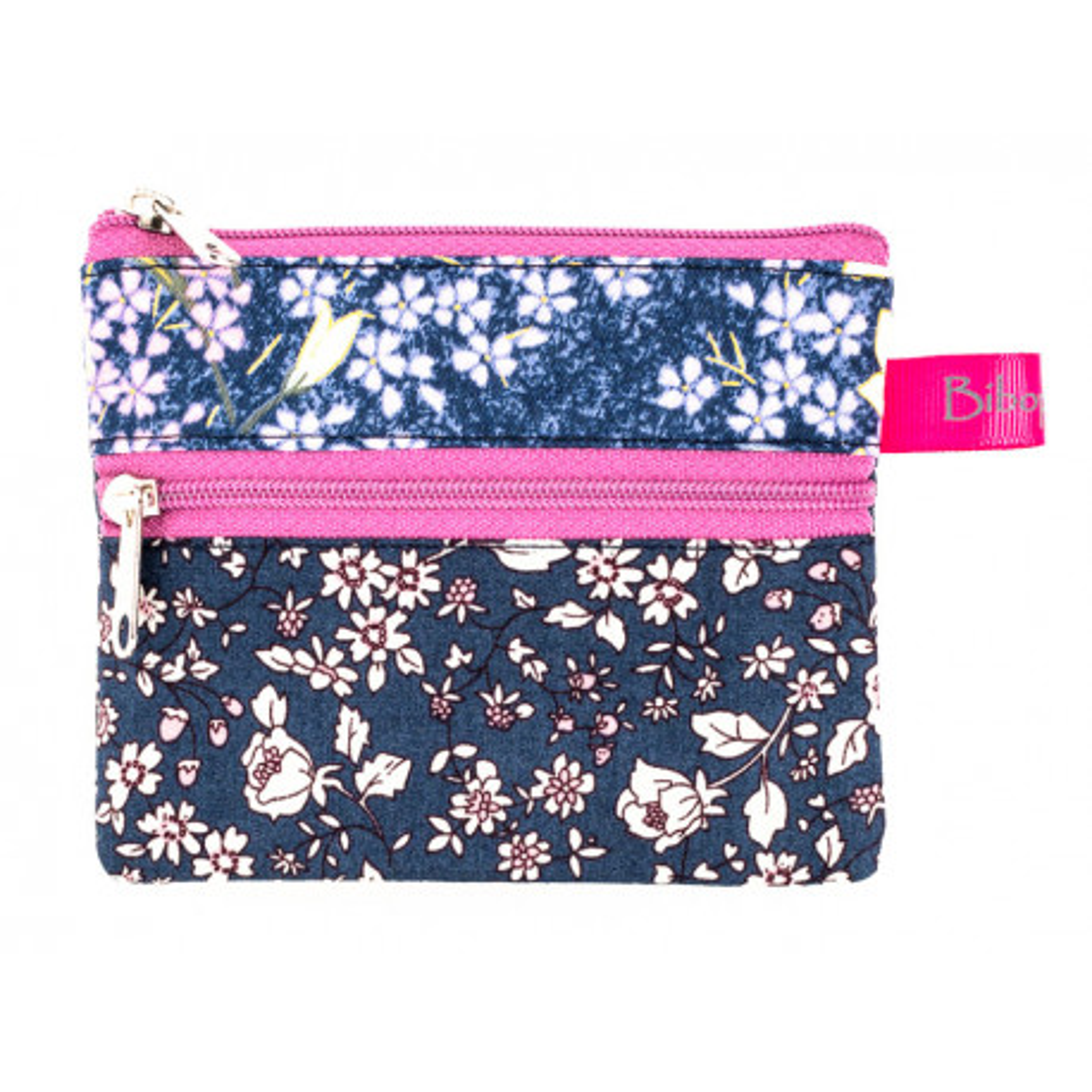 Petit porte-monnaie deux compartiments bleu et rose à fleurs