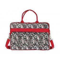Sac ordinateur portable noir et rouge à fleurs