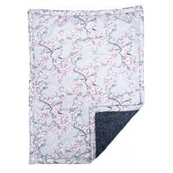 Couverture plaid bébé laine et coton gris et fleurs de cerisiers