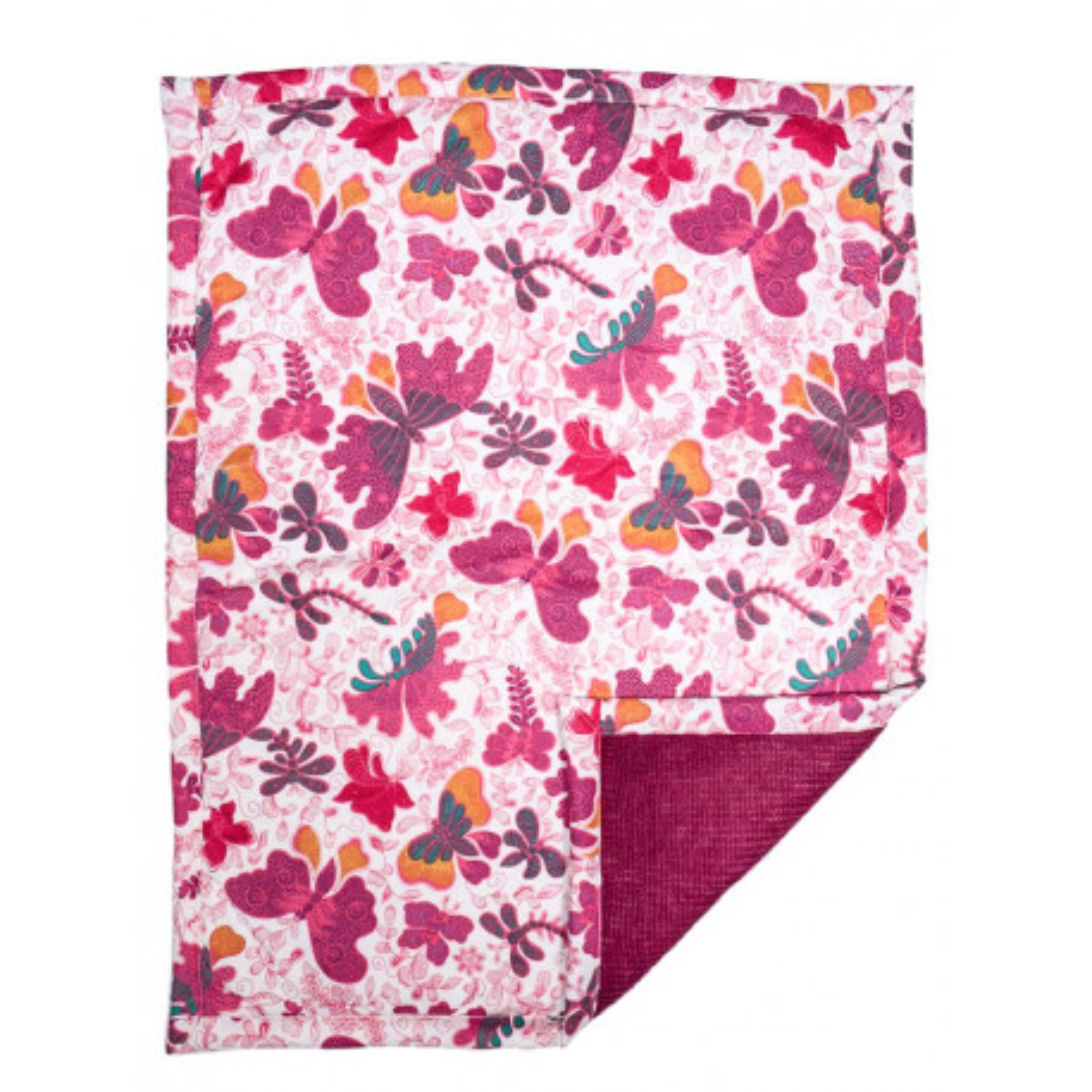 Couverture plaid bébé laine et coton papillons roses