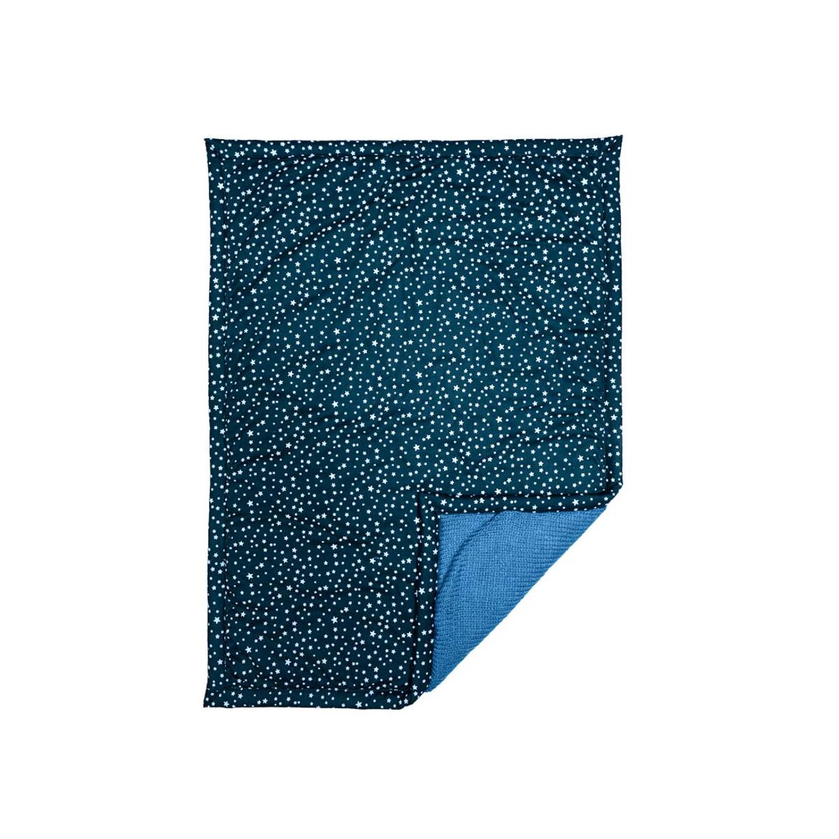 Couverture plaid bébé laine et coton étoiles bleues