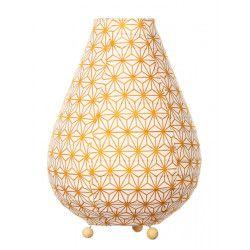 Lampe lampion de chevet tissu Asanoha jaune moutarde