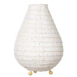 Lampe lampion de chevet tissu blanc dentelle