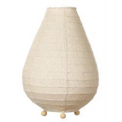 Lampe lampion de chevet tissu lin beige écru