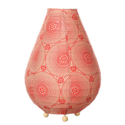 Lampe lampion de chevet tissu rouge