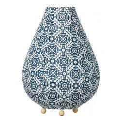 Lampe lampion de chevet tissu bleu et blanc
