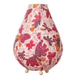 Lampe lampion de chevet tissu Papillons roses