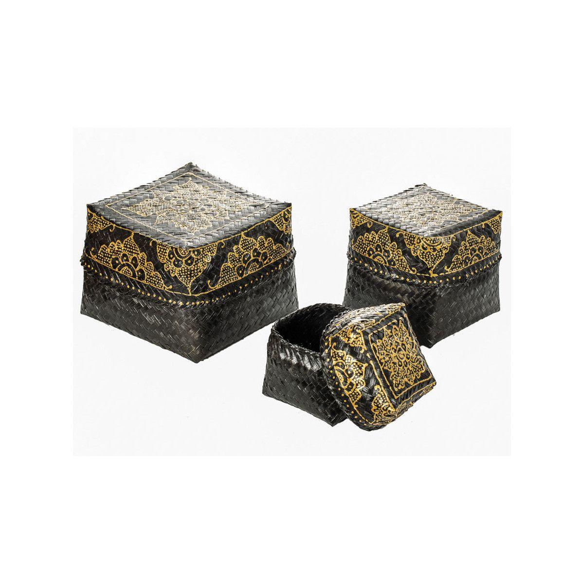 Boites à offrande peintes or et noir