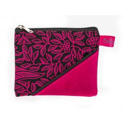Petit porte-monnaie zippé rose et noir