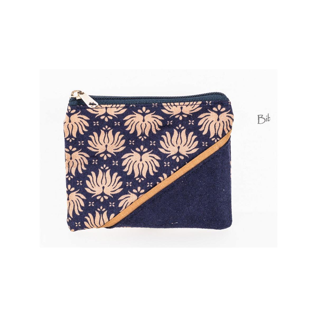 Petit porte-monnaie zippé bleu et écru