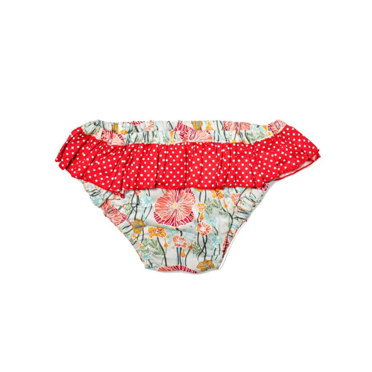 Culotte de bain fille 2-4 ans bleu et coquelicot rouge