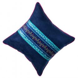 Coussin velours bleu déhoussable