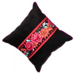 Coussin velours déhoussable noir et rouge pivoines