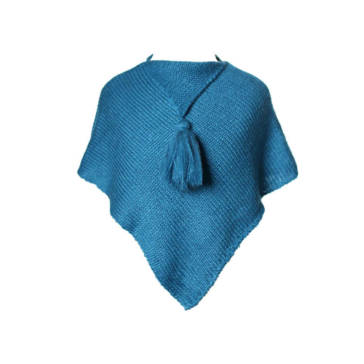 Poncho laine bébé bleu canard