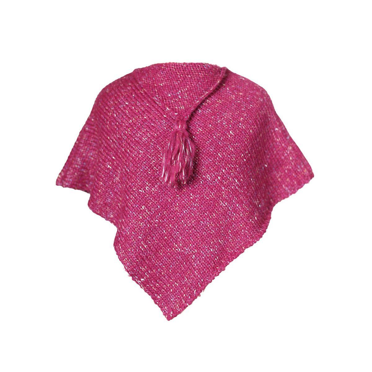 Poncho laine bébé rose framboise