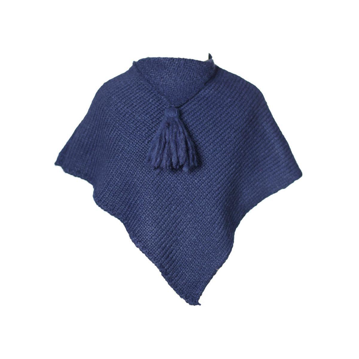 Poncho laine bébé bleu nuit Lapis Lazuli