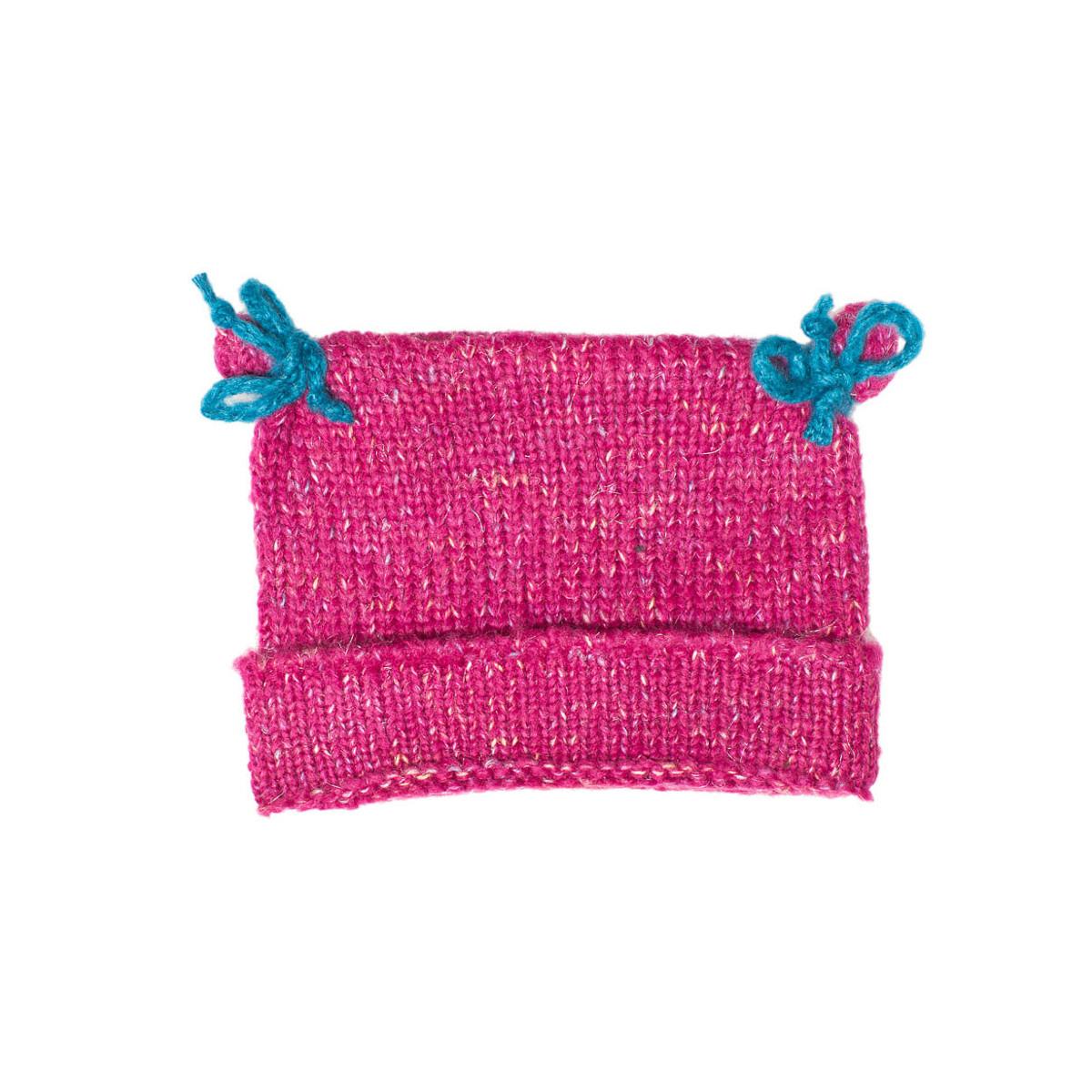 Bonnet bébé laine rose framboise