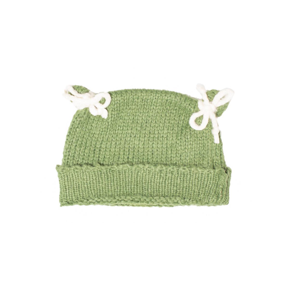 Bonnet bébé laine vert jade
