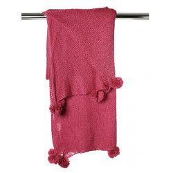 Grande étole laine rose framboise