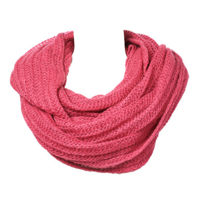Grand snood tour de cou laine rose framboise