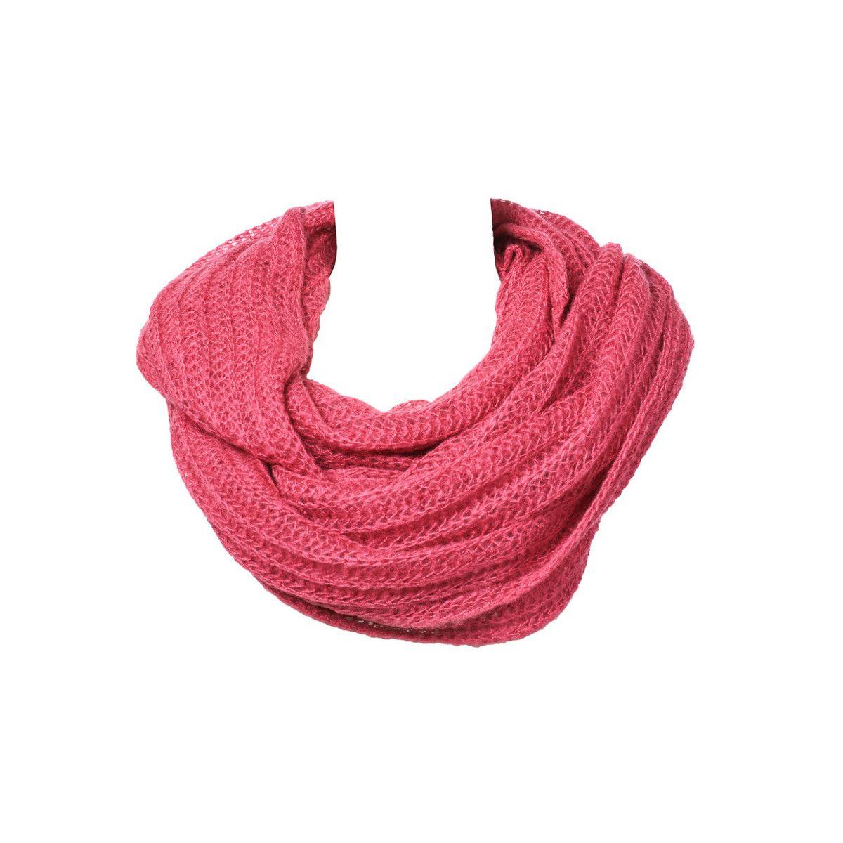 Grand snood tour de cou laine rose framboise