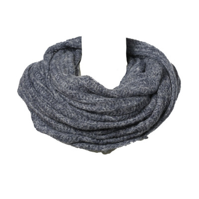 Grand snood tour de cou laine gris chiné