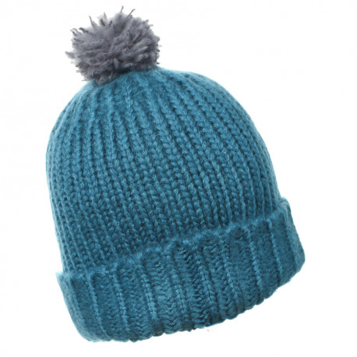 Bonnet laine pompon adulte bleu canard