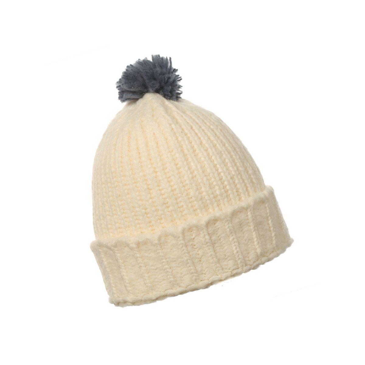 Bonnet laine pompon adulte blanc crème