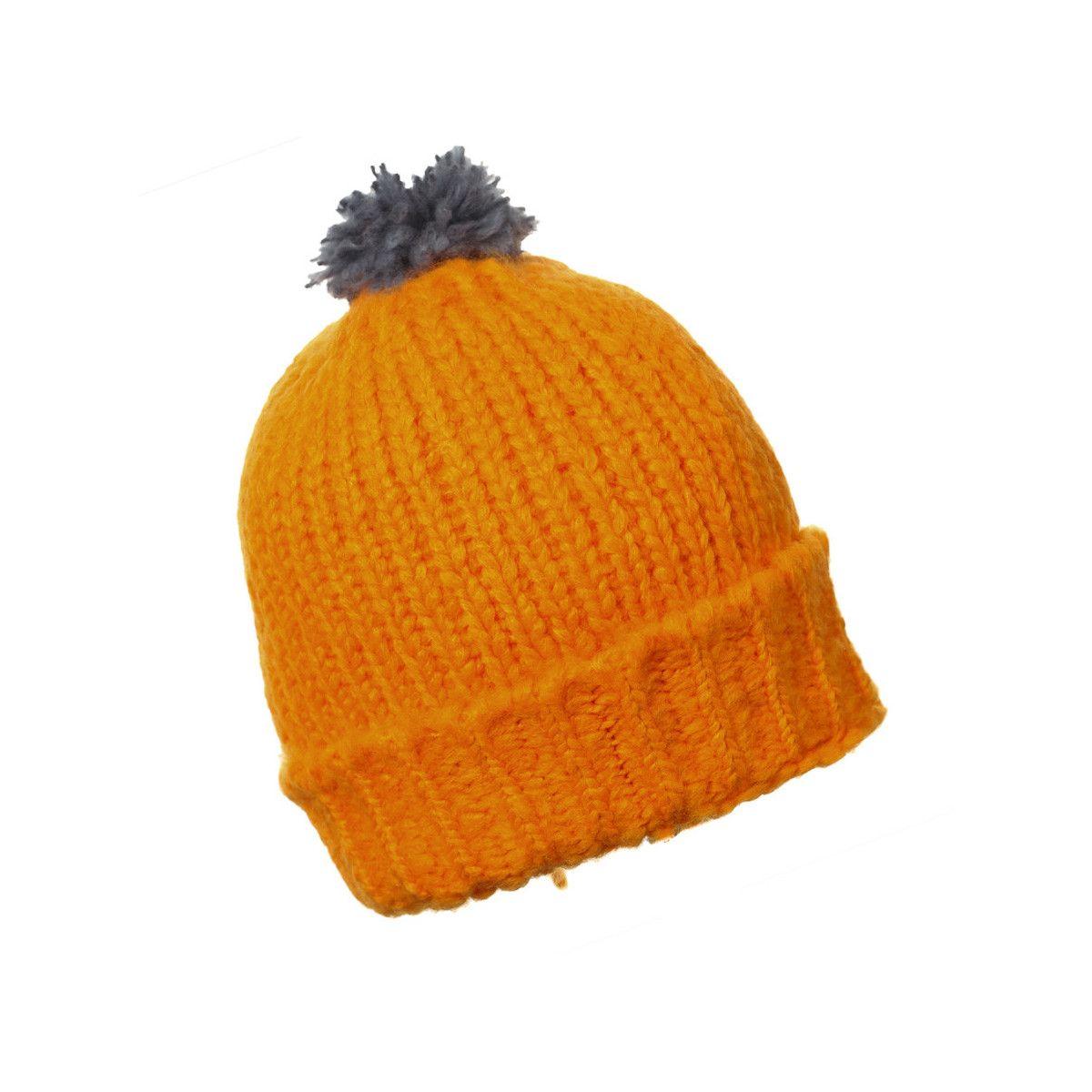 Bonnet laine pompon adulte orange soleil