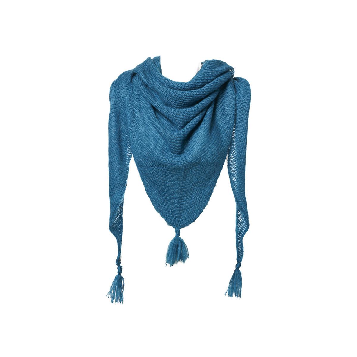 Etole écharpe triangle laine bleu Canard