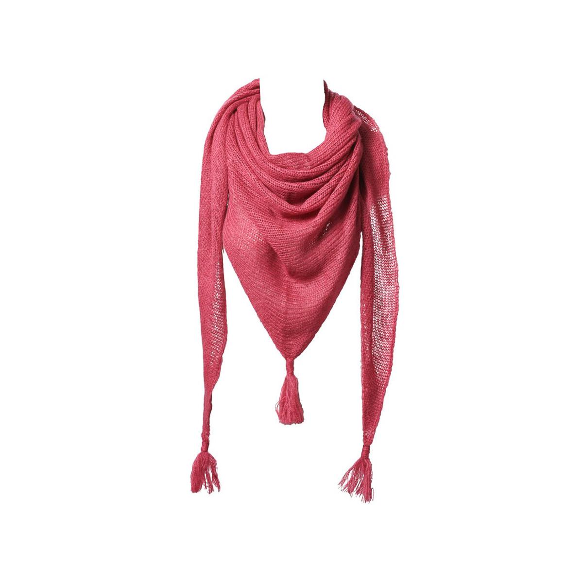 Etole echarpe triangle laine rose framboise
