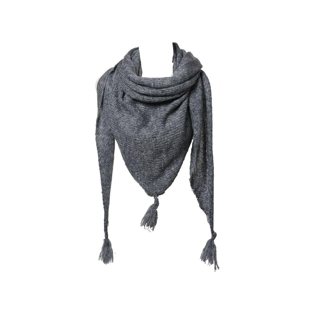Etole écharpe triangle laine gris chiné
