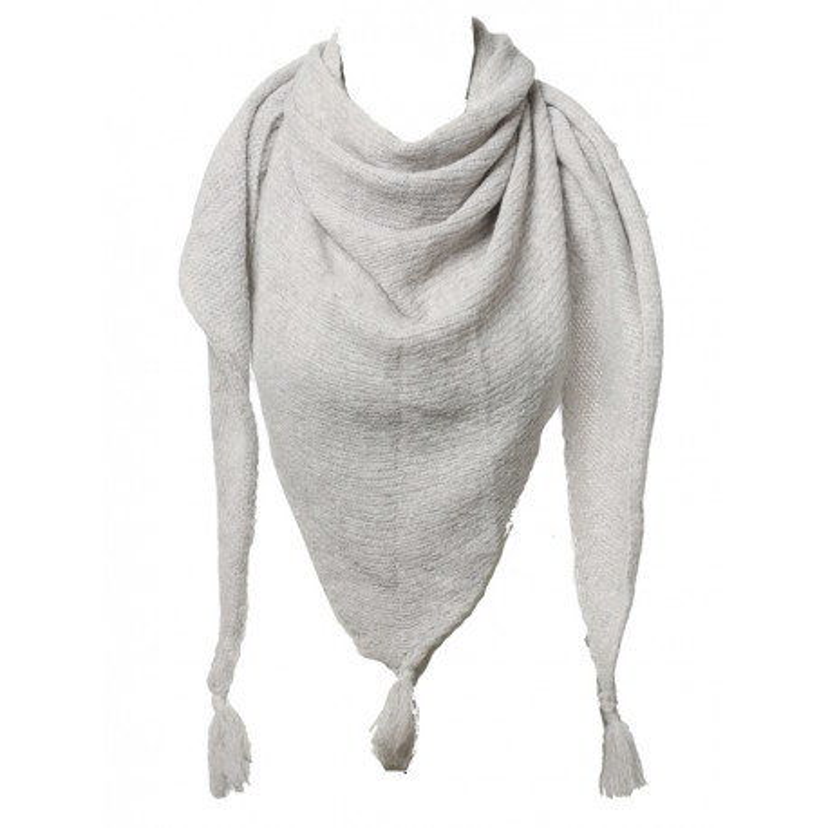 Etole écharpe triangle laine beige neige