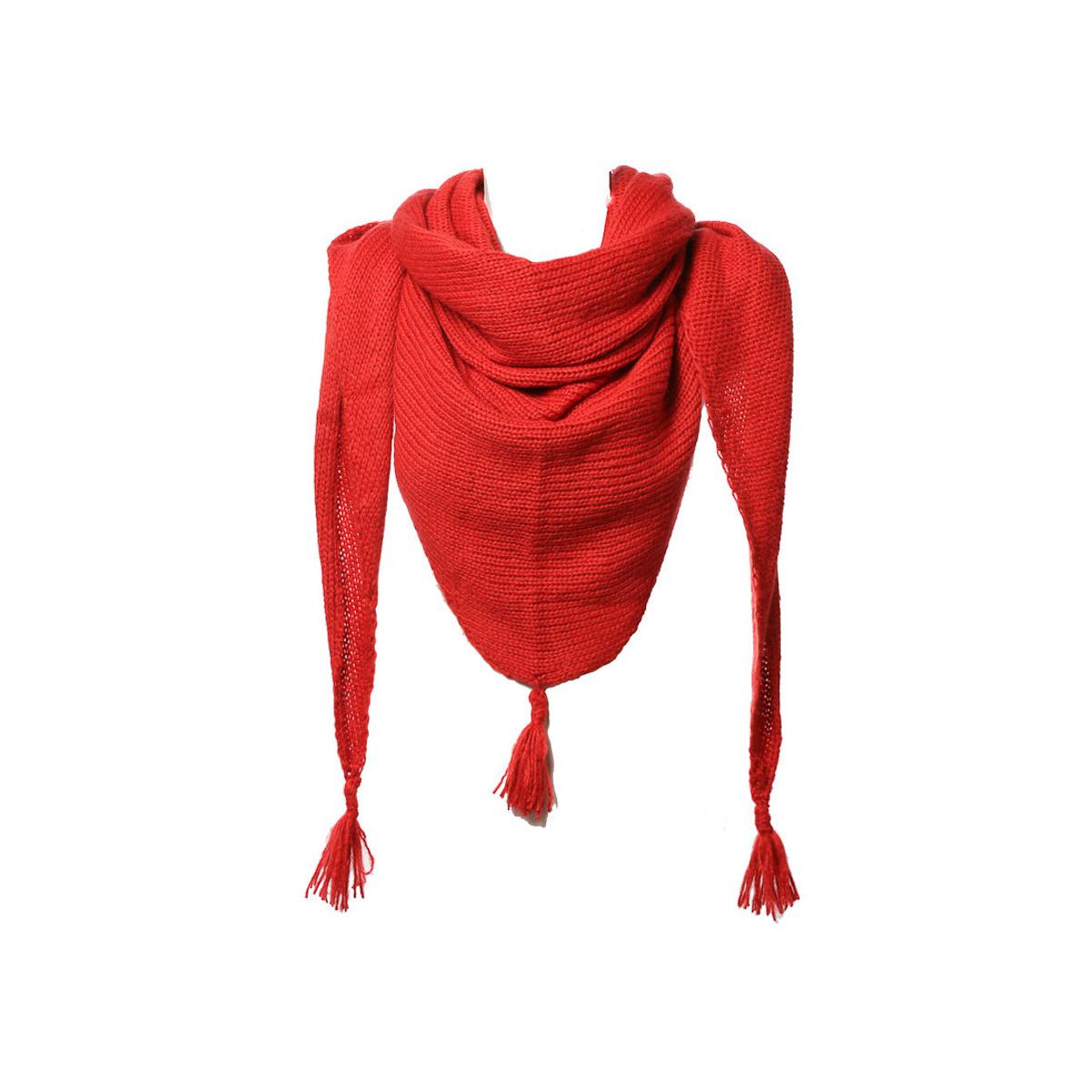 Etole echarpe triangle laine rouge