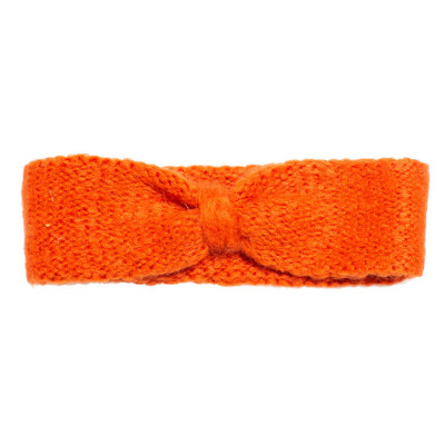 Bandeau headband sixties laine orange corail