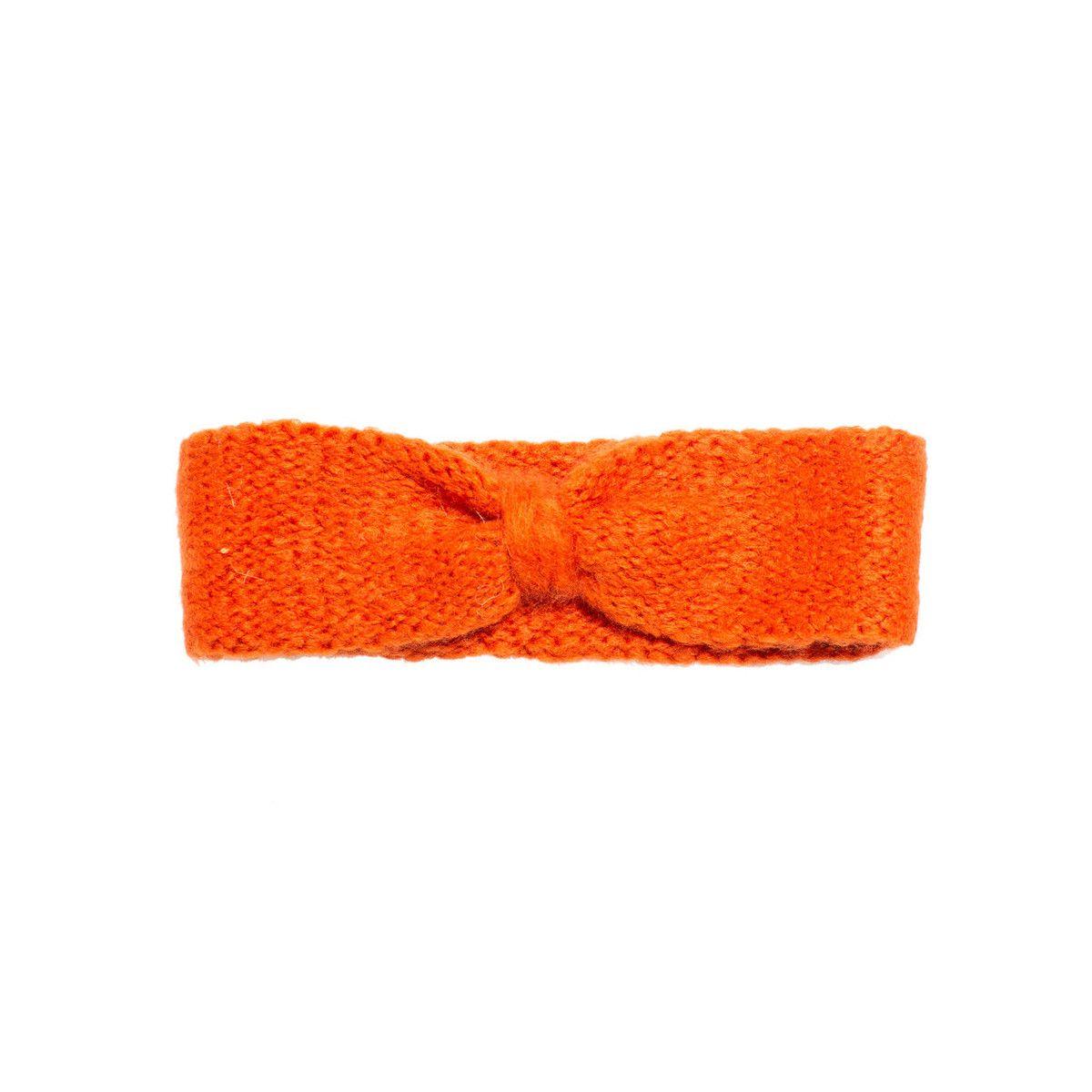 Bandeau headband sixties laine orange corail