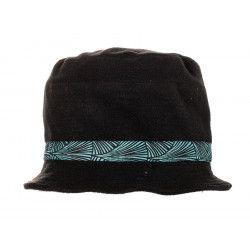 Chapeau polaire noir et vert d'eau