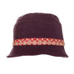 Chapeau polaire prune et rouge