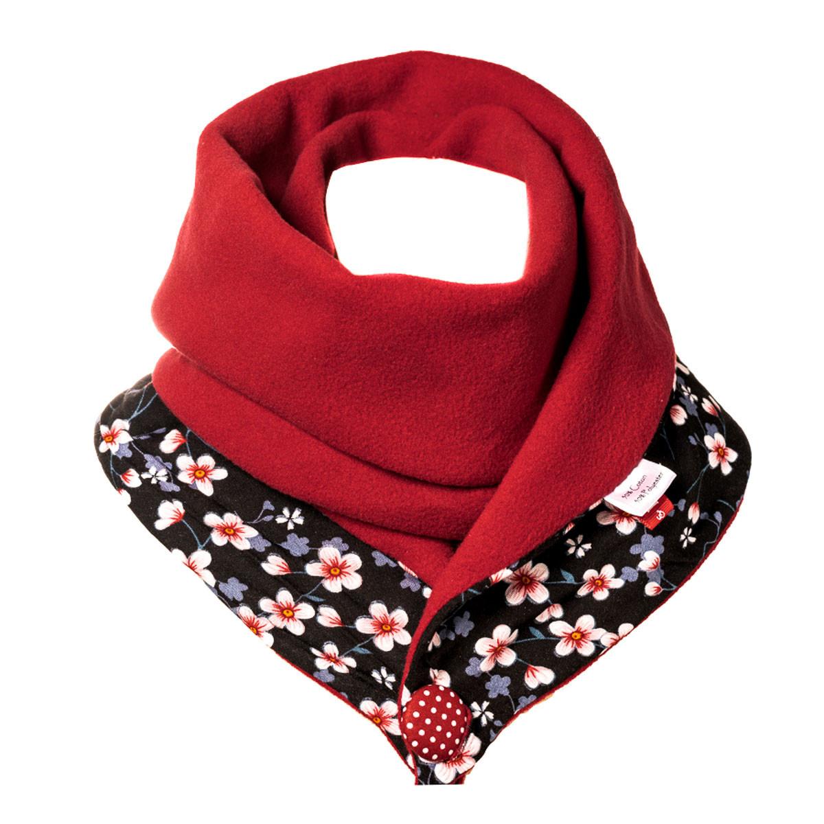 Echarpe polaire femme coton rouge et noir à fleurs